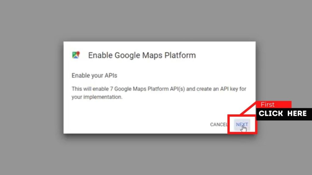 Click Next in order to get Google Map API