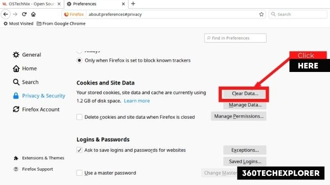 In the Cookies and Site Data section, click the Clear Data button