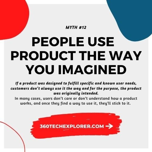 People always use your product the way you imagined they would. UX Myth #12