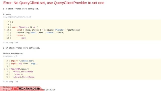 No QueryClient set, use QueryClientProvider to set one